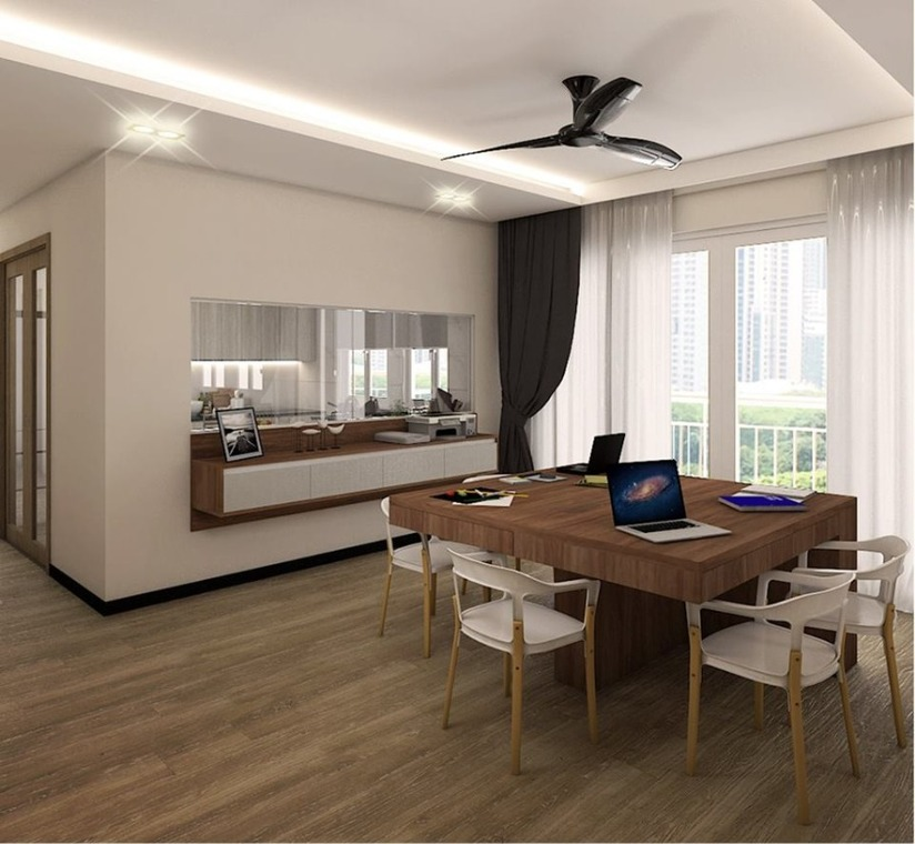 100 Clemenceau Ave by M Square Decor Pte Ltd - Completed 1200 - 1800 sqft Condo / Apartment Living Dining Kitchen Bedroom Living Room Cabinet Modern Wooden Carpentry Flooring Wetworks Paint Kitchen Cabinet Furniture Curtain Electrical Wardrobe - Recommend.sg