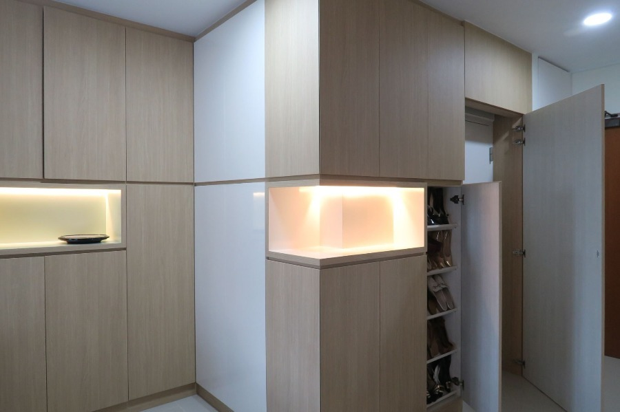 Teck Ghee Park View BTO by M Square Decor Pte Ltd - Completed 1200 - 1800 sqft HDB Bathroom Living Room Bedroom Kitchen Classic Carpentry Flooring Wetworks Paint Kitchen Cabinet Furniture Curtain Lighting Electrical Wardrobe TV Cabinet / Console Glasswork - Recommend.sg