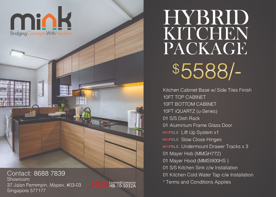 Kitchen Package  by MINK DESIGN PRIVATE LIMITED - Concept 800 - 1200 sqft HDB Carpentry Wetworks Kitchen Cabinet - Recommend.sg