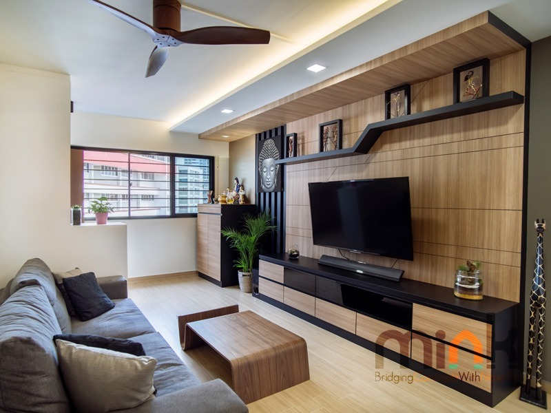 BUKIT BATOK by MINK DESIGN PRIVATE LIMITED - Completed 800 - 1200 sqft HDB Bathroom Walk-in-wardrobe Living Dining Kitchen Bedroom Kids Bedroom Study / Office Living Room Display Shelf Cabinet Modern Industrial Scandinavian Carpentry Flooring Wetworks 3D Design Plaster Ceiling Wallpaper Paint Kitchen Cabinet Furniture Curtain Lighting Electrical HVAC Ceiling Wardrobe TV Cabinet / Console Wall Decor Sofa Glasswork Artwork - Recommend.sg
