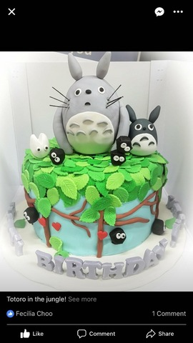 Totoro in the jungle cake